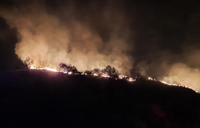 Bahçede çıkıp makilik alana sıçrayan yangın söndürüldü