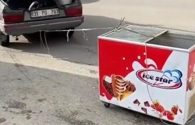 Otomobilinin arkasına dondurma dolabı bağlayıp sürükleyen sürücüye ceza