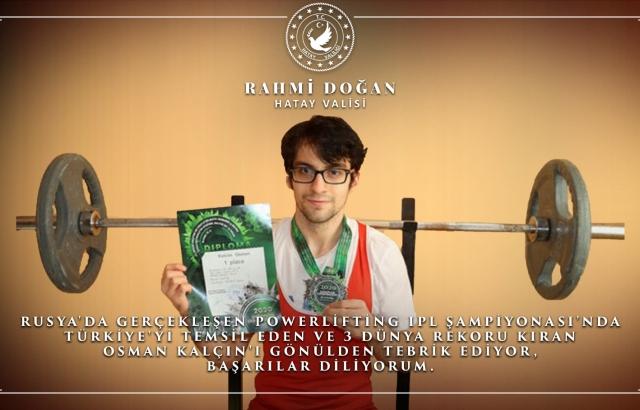 Vali Doğan'dan Sporcu Kalçın'a tebrik