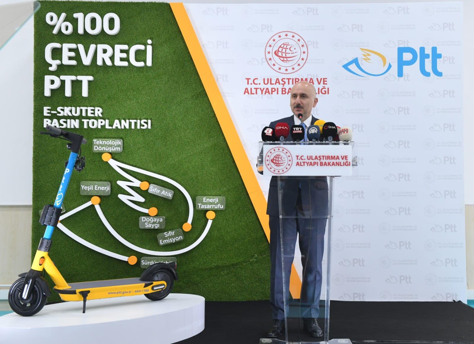 E-SKUTER, ARTIK PTT DAĞITIM HİZMETLERİNDE KULLANILACAK
