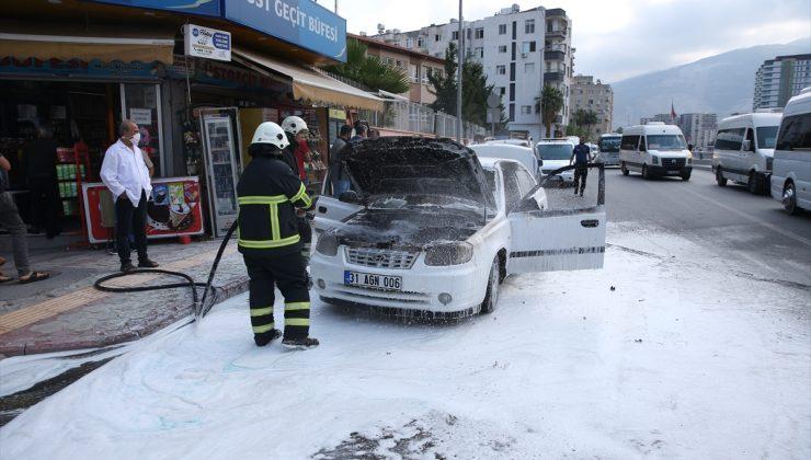 Seyir halindeyken alev alan otomobilde hasar oluştu